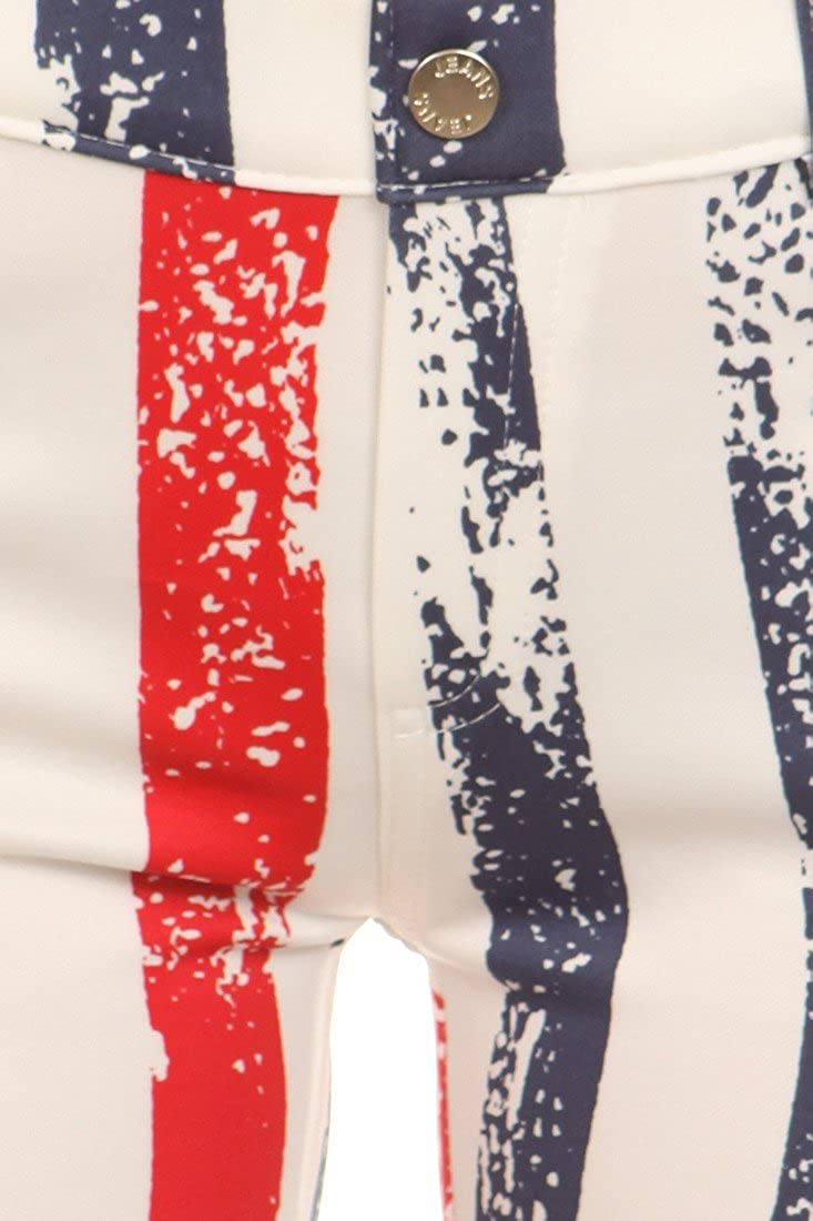 ICONOFLASH Womens USA American Flag Jeggings Stripes, LXL