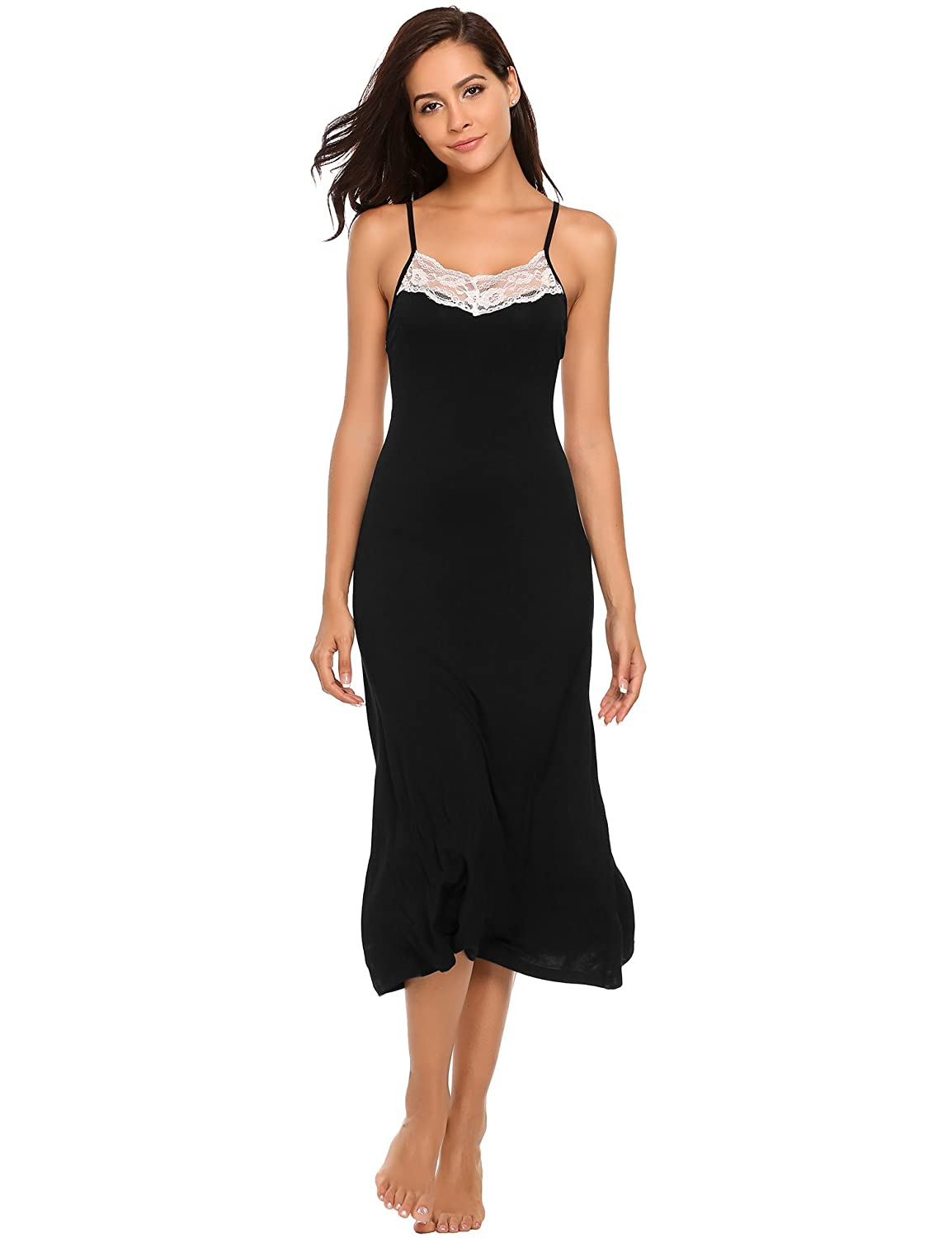 822028700803 Adjustable Spaghetti straps,Floral lace trim at neckline and back,Full  Length Nightgown. Comfort: Soft knit fabric with just a hint of stretch  feels dreamy ...
