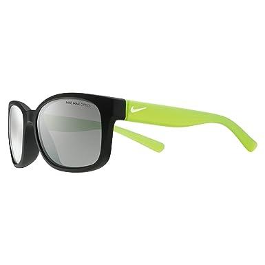Nike Golf Spirit Sunglasses, Matte Black / Volt Frame, Grey with Silver Flash Lens