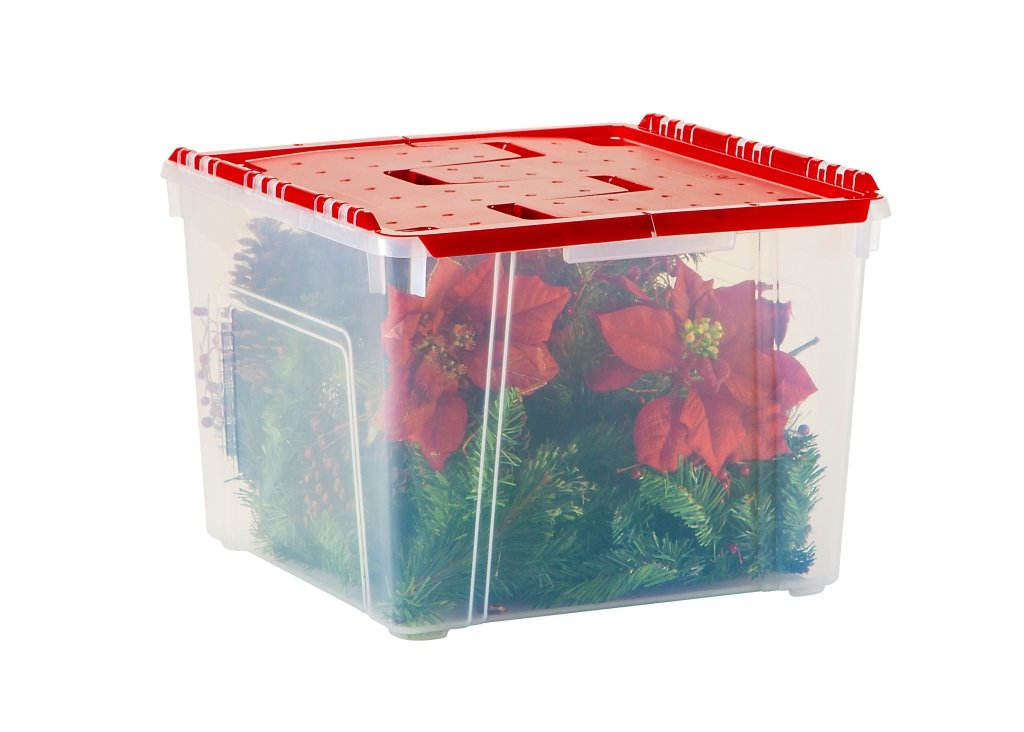 IRIS Holiday Wing-Lid Box with Ornament Dividers 60QT, WL-60 (8)