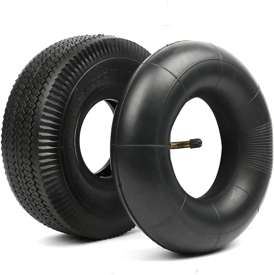 """LotFancy 4.10/3.50-4"""" Tire and Inner Tube, with TR87 Bent Valve, Pneumatic (Air Filled) Tire for Dolly, Lawn Mower, Garden Cart, Hand Truck, Utility Cart, Wheelbarrow, Wagon, Snow Blower"""