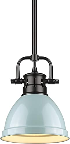 Golden Lighting 3604-M1L BLK-SF Duncan Mini Pendant, Matte Black with Seafoam Shade