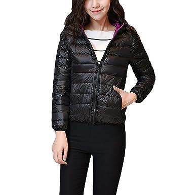 99fc14c36099 YYF Women s Lightweight Reversible Packable Thin Down Hooded Jacket Zip Up  Down Coat