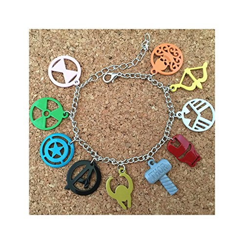 [Avengers Color 10 Charms Lobster Clasp Bracelet in Gift Box by Superheroes] (4 Star Dragonball Costume Color)