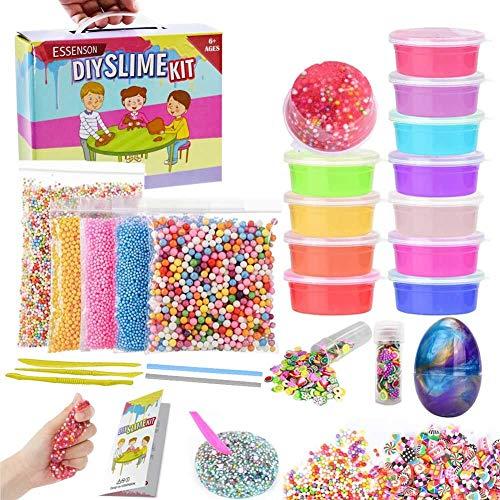 (ESSENSON Slime Kit Slime Supplies Make Your Own Clear Crystal Slime Foam Slime Glitter Slime, Slime Making Kit for Girls Boys Kids, Includes Clear Crystal Slime, Foam Balls, Egg)