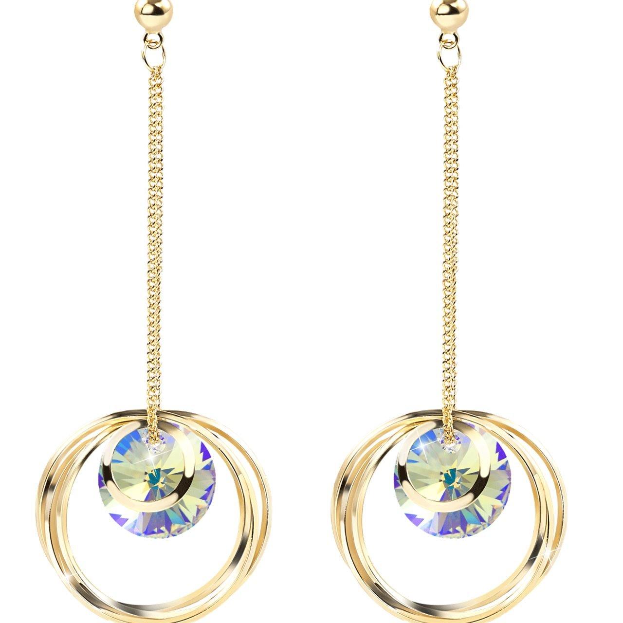 925 Sterling Silver Crystal Drop Earrings Circle Dangle Earrings Hypoallergenic Fashion Earrings