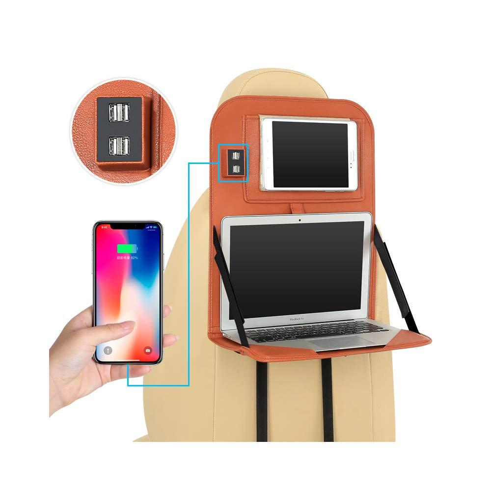 KXIN Custodia Pieghevole Portatile per Riporre Il Seggiolino per Auto, Tavolino Desktop Portatile per Notebook con 4 Porte di Ricarica USB con Supporto per Tablet,Brown