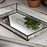 J Devlin Tra 106-1 ET209 Personalized Vintage Glass with Name Jewelry Tray with Mirrored Bottom Monogrammed Decorative Dresser Engraved Vanity Organizer