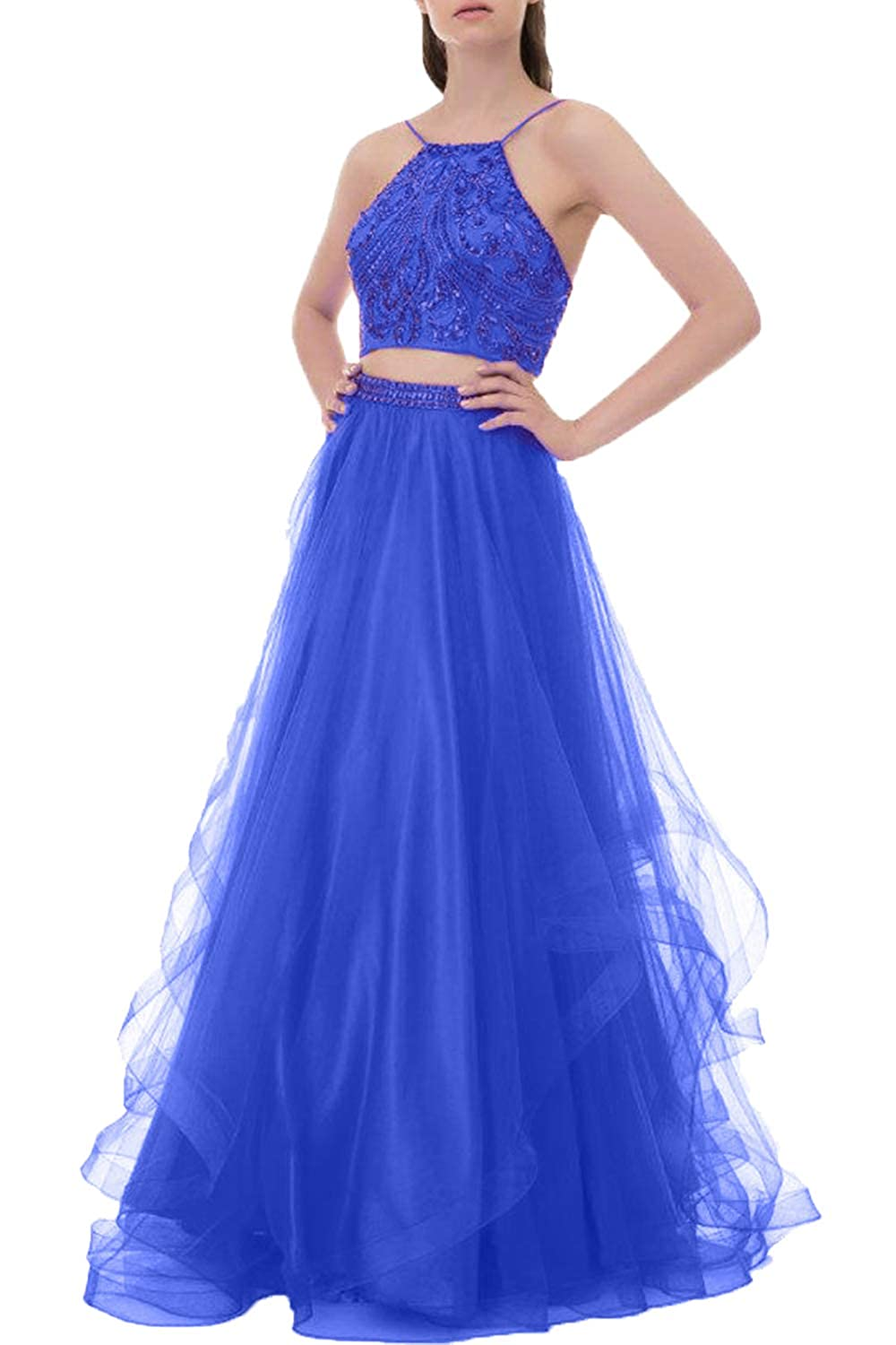 4ef838f49276 Two Pieces Prom Dress Long,Tulle,Shining Crystal Beads,Halter  Backless,Ruffles Tulle Skirt Features:Two-pieces Built in bra,Halter  Neck,Backless,Ball Gown ...