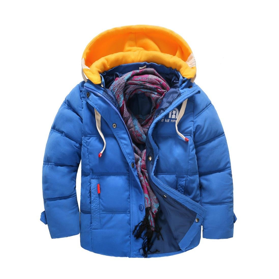 KaloryWee Boys Coats, Boys Winter Coat Quilted Jacket Contract Color Padded Down Detachable Hood Puffer Jacket Snowsuit KaloryWee31