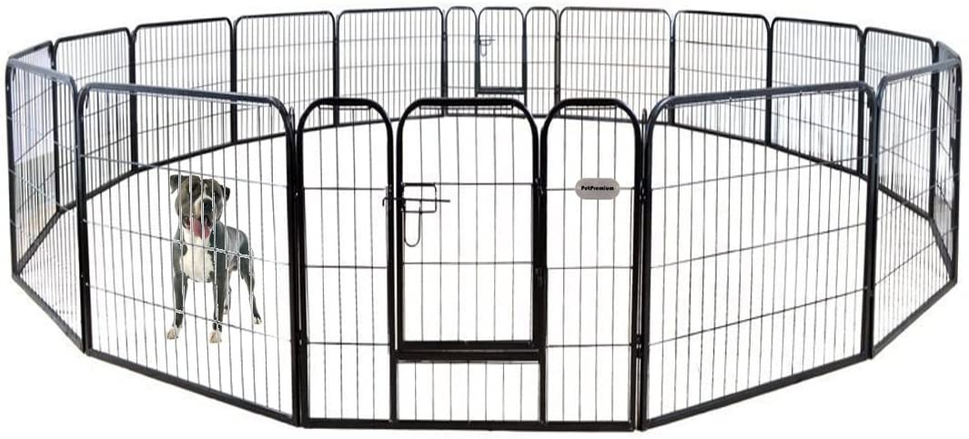 PetPremium Dog Pen Metal Fence Gate Portable Outdoor RV Play Yard Heavy Duty Outside Pet Large Playpen Exercise Indoor Puppy Kennel Cage Crate Enclosures 32 Height 16 Panel