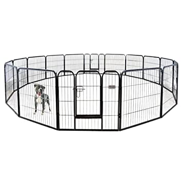 petpremium dog pen metal fence gate portable outdoor rv play yard heavy duty outside pet