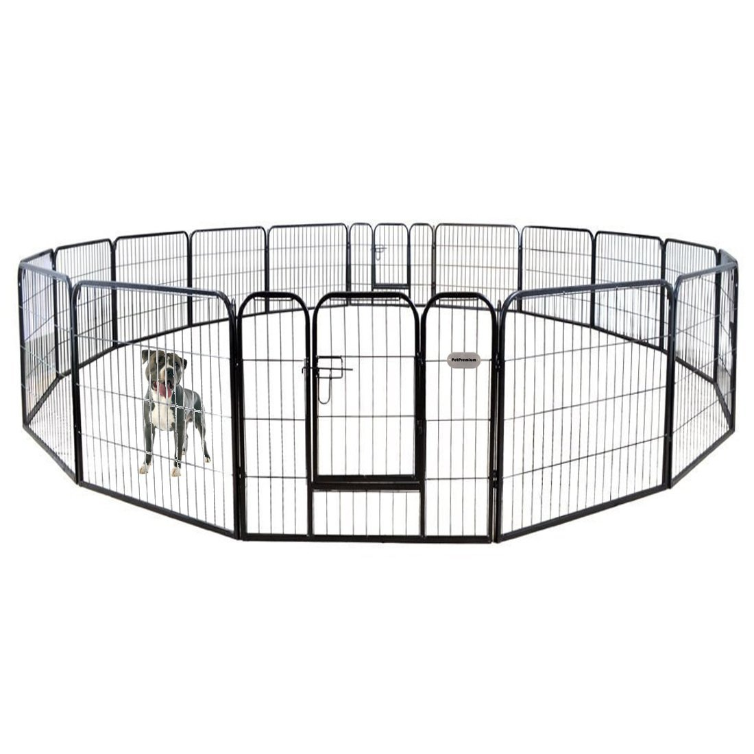 PetPremium Dog Pen Metal Fence Gate Portable Outdoor RV Play Yard | Heavy Duty Outside Pet Large Playpen Exercise | Indoor Puppy Kennel Cage Crate Enclosures | 32'' Height 16 Panel