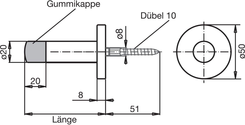 /1/pi/èce /Butoir de porte/ Solido Tampon de porte murale /Ø 20/mm/ /Acier inoxydable mat/ /longueur: 120/mm/