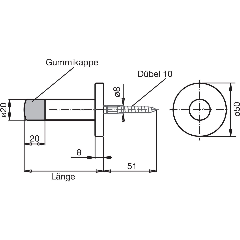 Solido Tampon de porte murale /Ø 20/mm/ /1/pi/èce /Acier inoxydable mat/ /longueur: 30/mm/ /Butoir de porte/