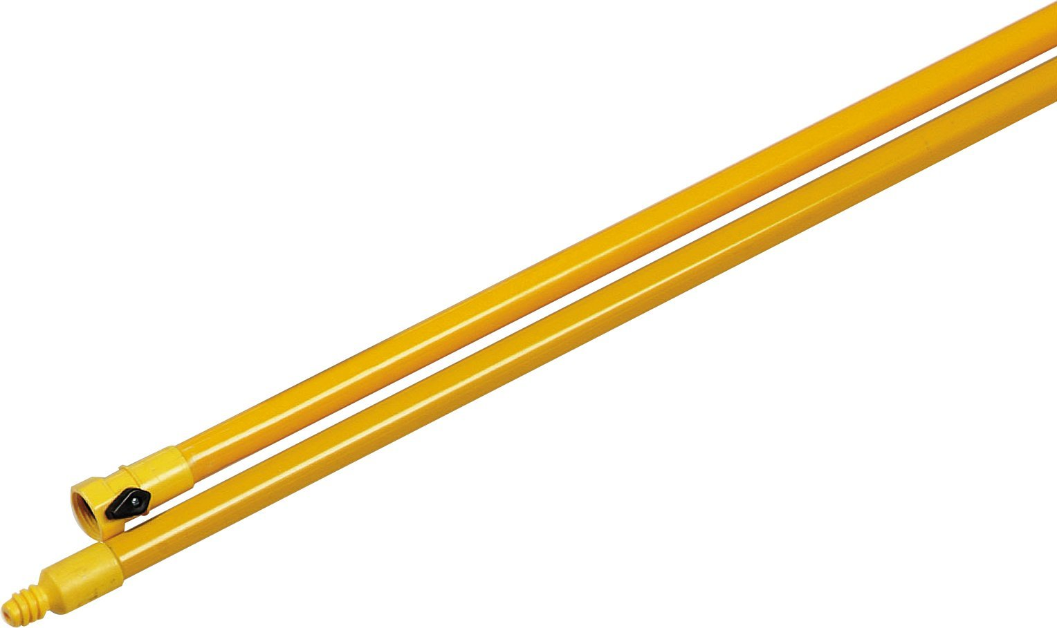 Carlisle 4024104 Fiberglass Flo-Thru Handle with Standard Thread and Shut Off Valve, 7/8'' Dia. x 60'' H, Yellow (Case of 12)