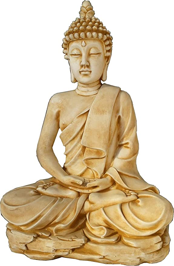 DEGARDEN AnaParra AnaParra Figura Decorativa Buda del Amor Decorativa para Jardín o Exterior Hecho de hormigón-Piedra Artificial | Figura Buda Grande de 73cm, Color Siena: Amazon.es: Jardín