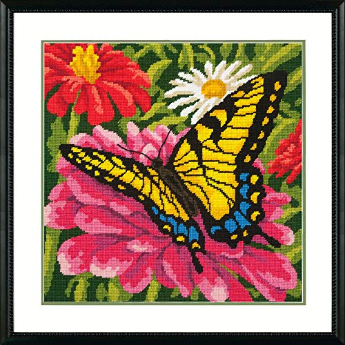 (Dimensions Needlepoint Kit, Butterflies and Zinnias Floral Needlepoint, 14'' x 14'')