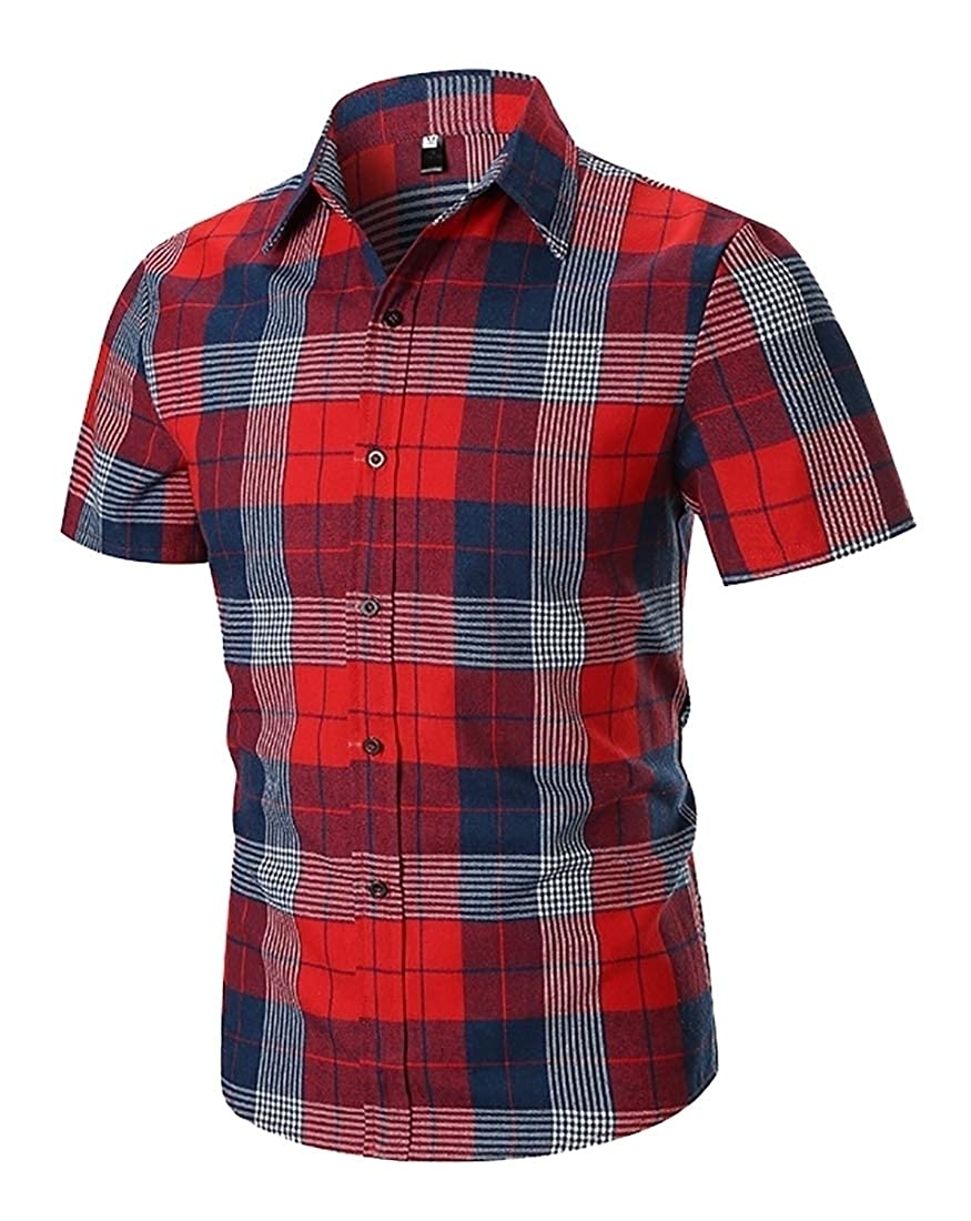 YIhujiuben Mens Printing Plaid Shirt Party Fashion Short Sleeve Button Down Shirts