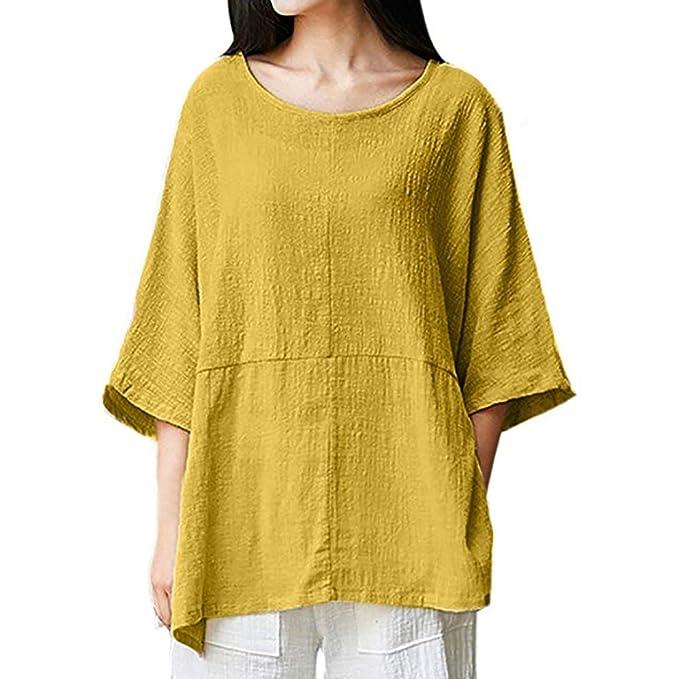 ... de algodonTops Camisas Blusa Mujeres Ocasionales Manga Larga Boton De LaCuello En Irregular De Decoracion Camisas Tapas: Amazon.es: Ropa y accesorios