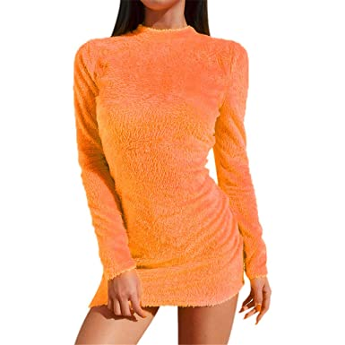5c0fc8473b0 UFACE Robes Pull Moulante Mini Sexy Col Rond Unie Peluche Mode Femmes  Manches Longues Solide Bejirog