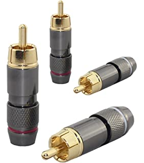 [4 pcs] Hi End RCA Male Plug, Adapter Audio Phono, Gold Plated
