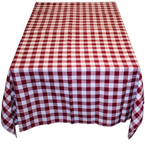 Table in a Bag RW6060 Square Polyester Gingham Tablecloth, 60-Inch by 60-Inch, Red and White Checkered Pattern