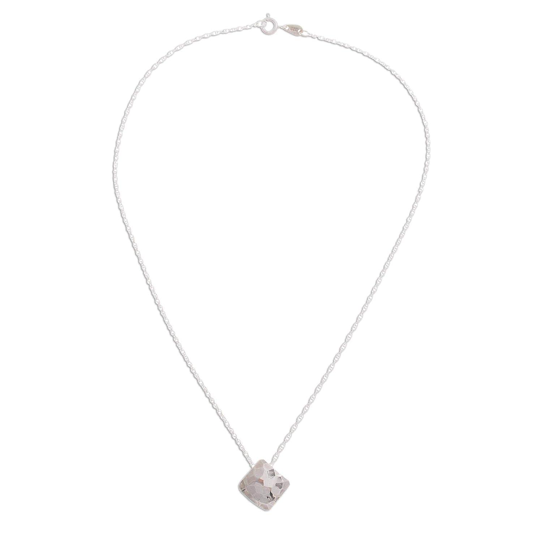 NOVICA .925 Sterling Silver Pendant Necklace Hammered Square 16.25