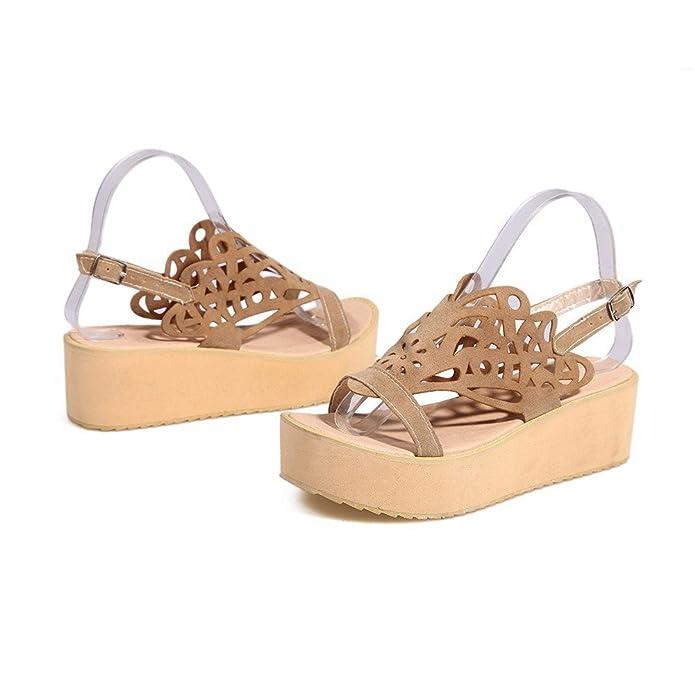 Women's Open Toe Kitten-Heels Frosted Solid Buckle Flats-Sandals