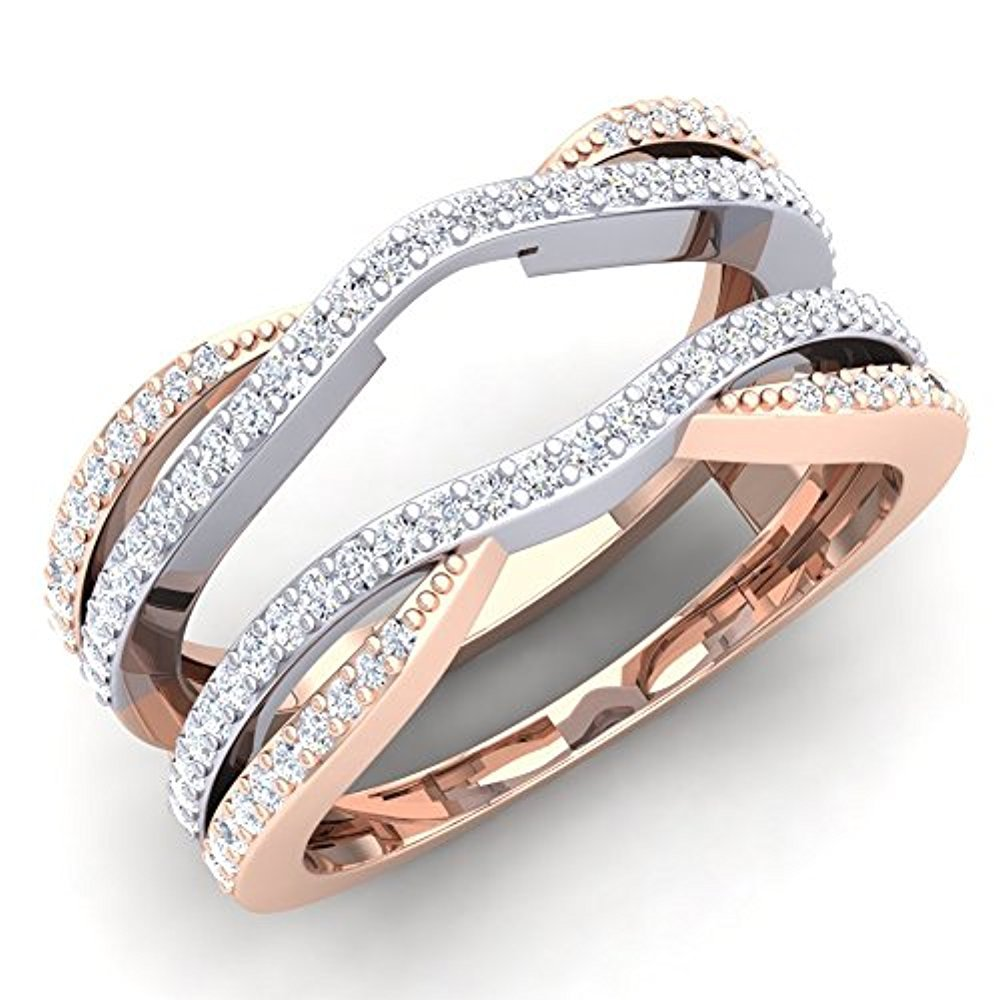 tusakha 0.50 Carat (ctw) 14K White & Rose Gold Plated Sterling Silver CZ Diamond Ladies Wedding Band Enhancer Guard Double Ring 1/2 CT (4-12) (4.5)