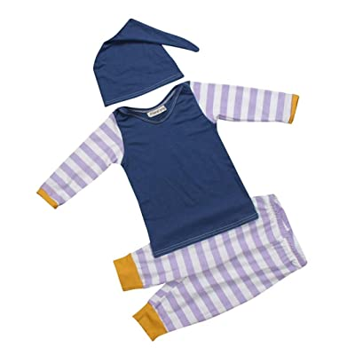 Purple and White Stripe Outfits Baby 3 Piece Sets Long Sleeve T-Shirts+Pants+Hat