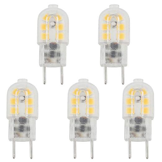 Bonlux 5-Packs 3W 12V G6.35 luz LED blanco fresco 6000K Bi-Pin JC Tipo 20W halógena equivalente T3 / T4 / T5 Bombilla LED G6.35 / Base GY6.35 de Iluminación ...
