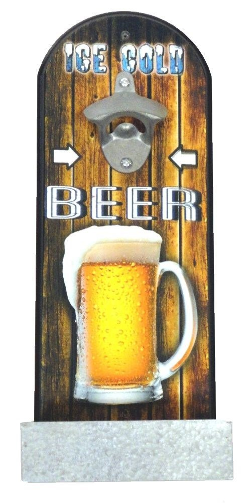 Beer Bottle Opener on Wood Plaque, Ice Cold Beer, Bin on Bottom to Catch Bottle Tops