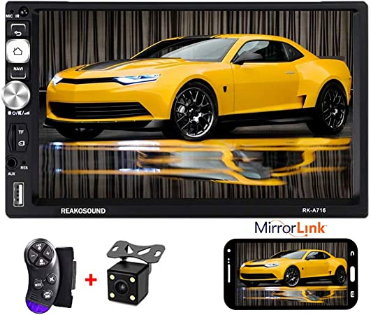 1G 12 LEDs Backup Camera Camecho Android Double Din Car Stereo with 7 HD Touch Screen Head Unit GPS FM Bluetooth USB Radio Support iOS//Android Phones Mirror Link