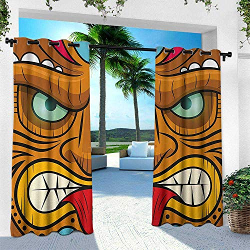 Hengshu Tiki Bar, Outdoor Privacy Curtain for Pergola,Cartoon Style Angry Looking Tiki Warrior Mask Colorful Icon Totem Culture Print, W108 x L108 Inch, Multicolor