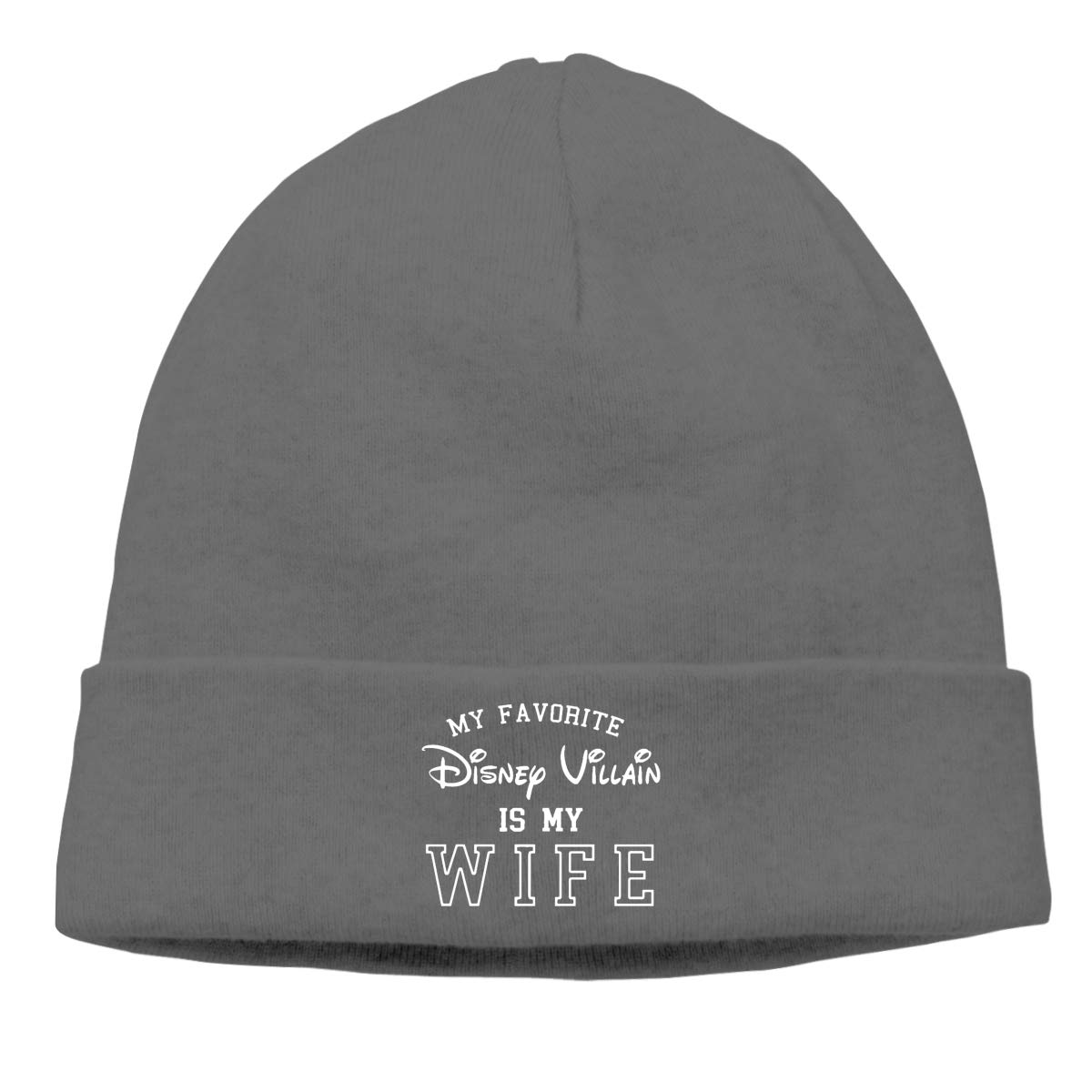 Simoner My Favorite Disney Villain is My Wife Warm Stretchy Solid Daily Skull Cap,Knit Wool Beanie Hat Black