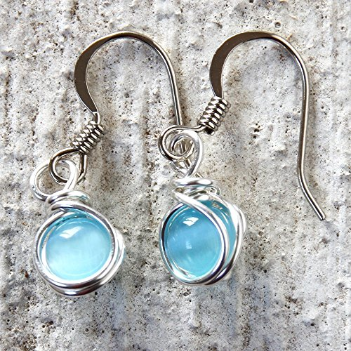 Turquoise Color Bead Dangle Wire Wrapped Earrings ()