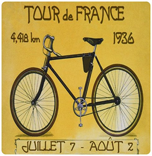 3dRose LLC 8 x 8 x 0.25 Inches Mouse Pad, Doppelgaenger of French Poster Ad of tour De France Bike Race (mp_163246_1)
