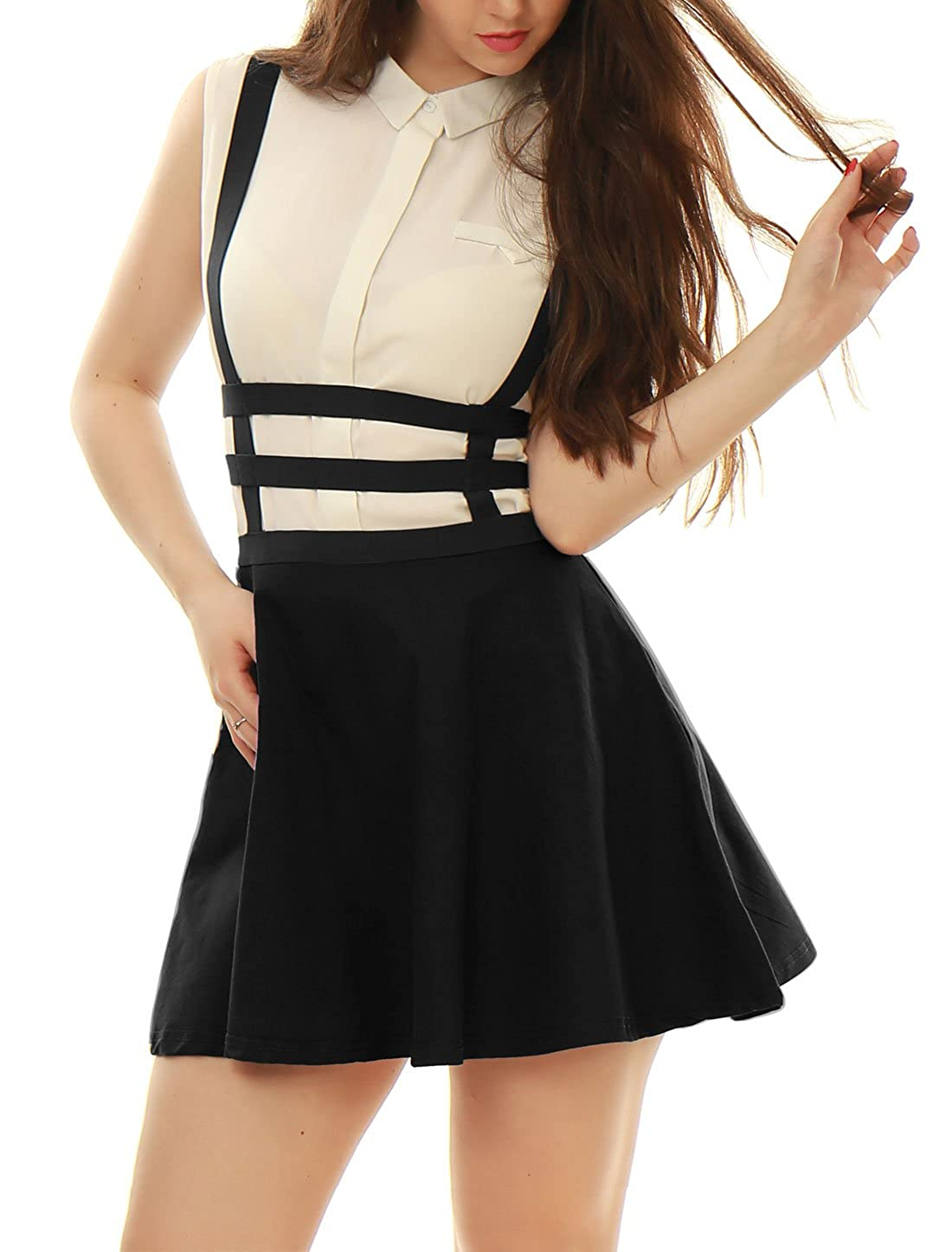 f9d63ed4f Allegra K Women's Pleated A-Line Elastic Waist Braces Mini Suspender Skirt  at Amazon Women's Clothing store: