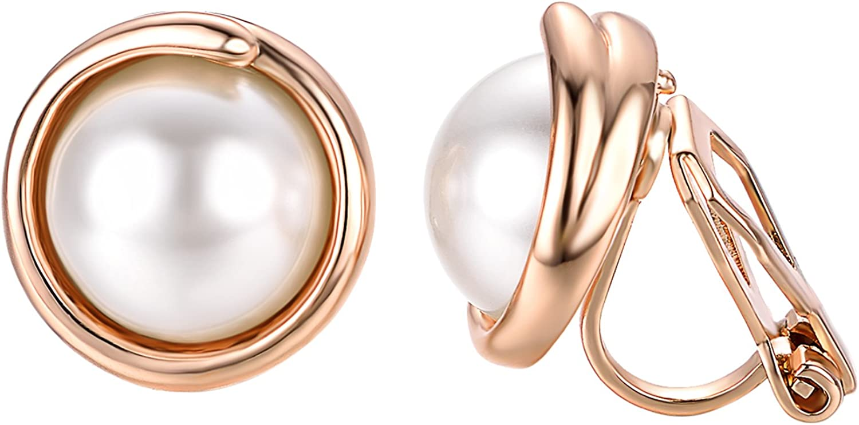 Yoursfs - Pendientes sencillos de perlas para mujer o niña, de clip, ideal como accesorio o regalo de aniversario o San Valentín