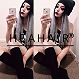 Heahair Handtied Black Ombre Silver Straight Long Synthetic Lace Front Wigs for Women