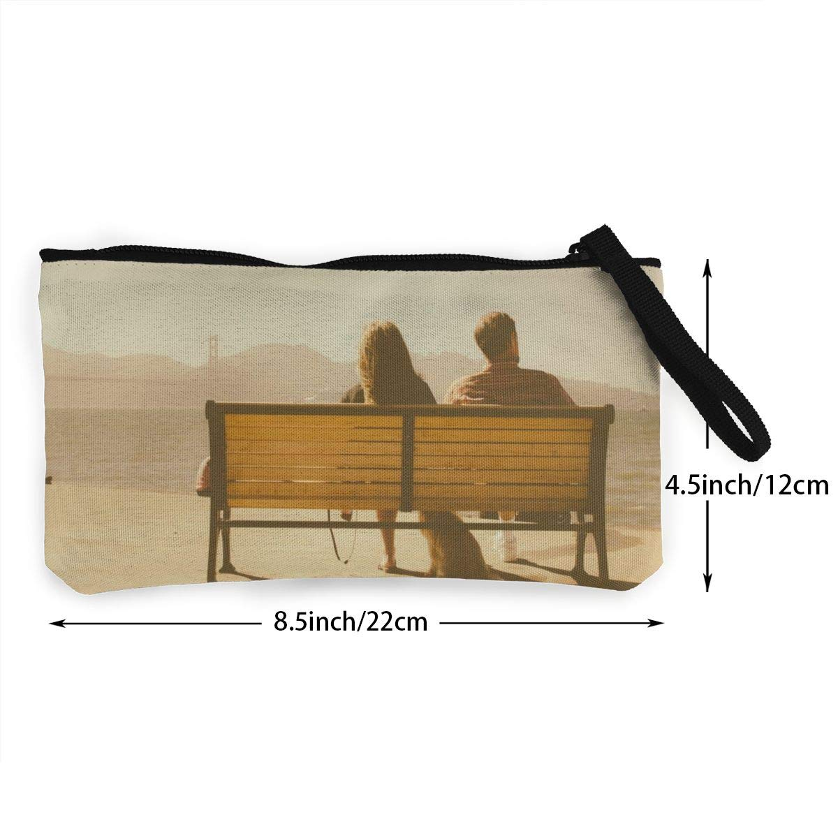 Make Up Bag,Cellphone Bag With Handle Young Couple Sitting on Bench With Dog Zipper Canvas Coin Purse Wallet