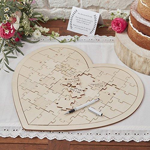 Wedding Guest Book Ideas Wedding Games Write On Wooden Heart Jigsaw 58 Pc ()