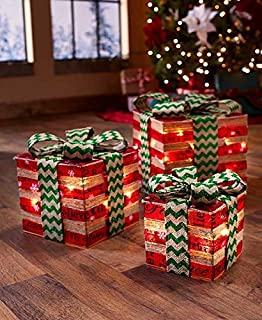 lighted gift box decor red green - Amazon Christmas Decorations Indoor