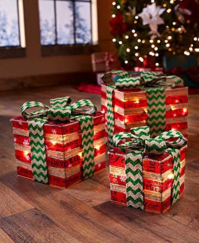 lighted gift box decor red green