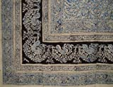 Veggie Dye Block Print Tapestry Cotton Bedspread 108'' x 88'' Full-Queen Blue