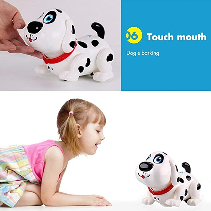 DOMENICO Wireless Voice Control Robot Dog, Interactive Little Baby Pup Walking,Talking,Singing,Stories and Maths, Remote Control Pet for Boys/Girls