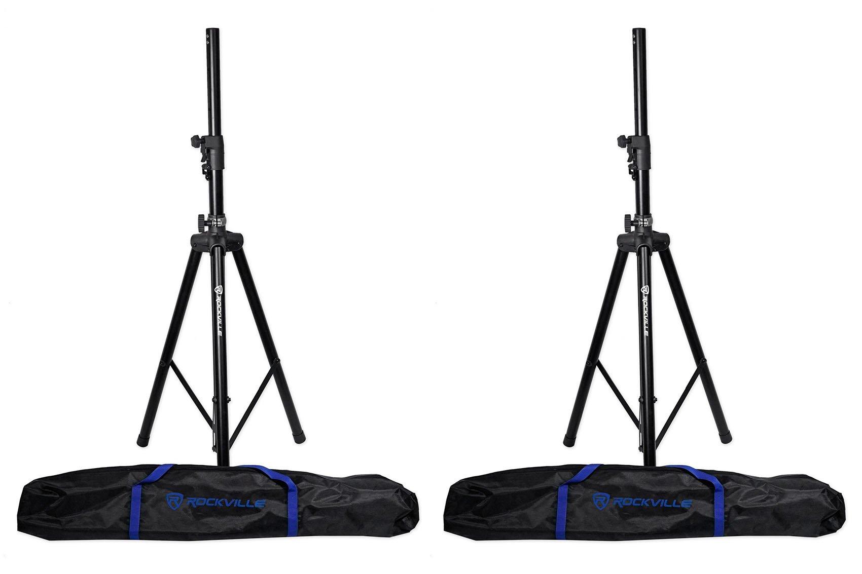 2 Rockville DJ PA Tripod Speaker Stands+Bags, Hydraulic Air Auto Lift RVSS4AB