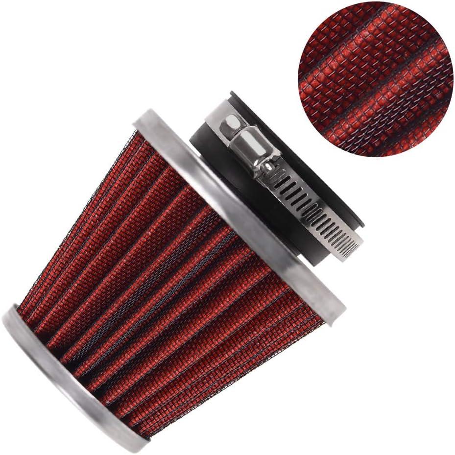 Evermotor Universal Doppelschicht Stahl Filter Luftfilter Rot 48mm 49mm 50mm Für Motorrad Scooter Atv Moped Roller Auto