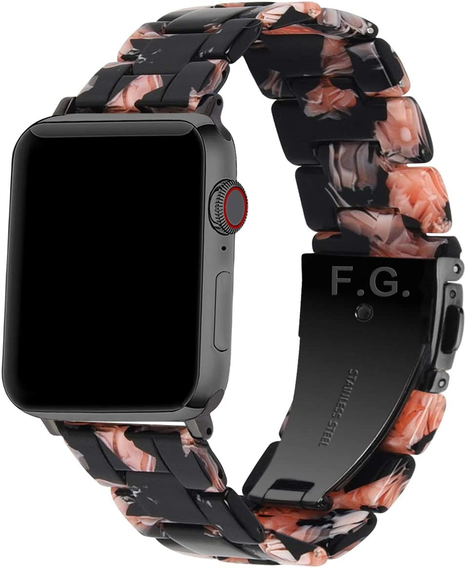 Fullmosa Compatible Apple Watch 44mm/42mm/40mm/38mm, Bright Resin Apple Watch Band for iWatch SE & Series 6/5/4/3/2/1, Hermes, Nike+, Edition, Black Rose(Black Hardware) 44mm